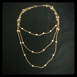 Jewelry - Multistrand faux pearl and gold chain necklace